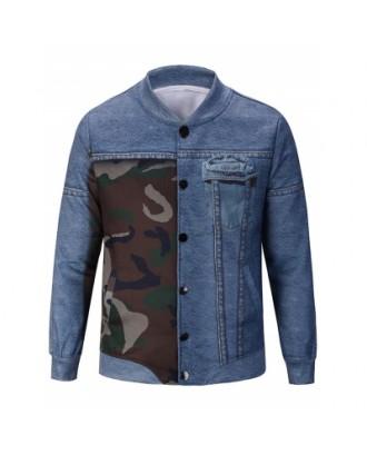 Camouflage and Denim Pattern Jacket